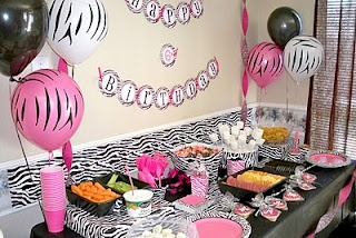 Zebra and pink party food table: Pink Zebras, Food Tables, Birthday Parties Ideas, Hot Pink, First Birthday, Two Parties, Zebras Divas, Divas Birthday Parties, Birthday Ideas