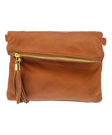 Loving this Cognac Leather Fold-Over Crossbody Bag on #zulily! #zulilyfinds