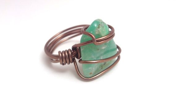 Green Chrysoprase Stone Copper Wire Wrapped Ring