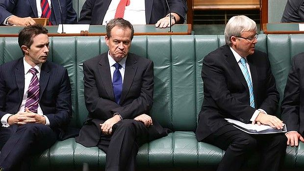 Workplace Relations Minister Bill Shorten and Prime Minister Kevin Rudd during a division in the House of Representatives at Parliament House in Canberra on Thursday 27 June 2013.