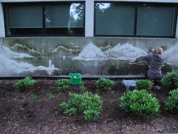 Artist Tess Jakubec washes away dirt and grime from walls to create her street art landscapes. Tess uses a combination of water, stencil, brushes and rags (and probably some kind of cleaning solution) to create what's known as reverse graffiti.