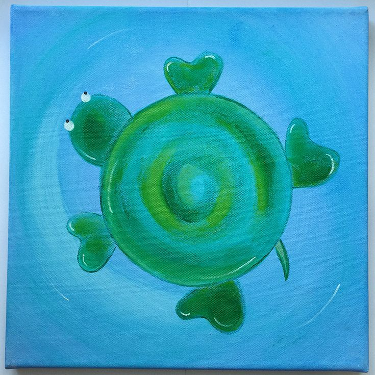 Handmade children's canvas painting with a turtle in shades of green and blue.