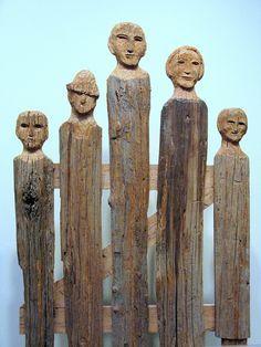 folk art fence, made of wormy chestnut, carved by Helen Bullard Krechniak, on display at Folk Art Center, NC