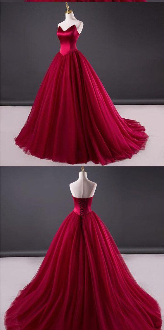 Burgundy Wedding Dress,Strapless Burgundy Bridal Dress