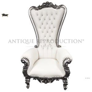 Amazing bridal photography prop. Gorgeous wedding decor and design. Or even for if you are the queen in your home. French Alice Throne Arm Chair Antique Silver and Cream with Crystal Buttons The Antique Reproduction Shop