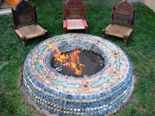 Pebble mosaic outdoor fire questions deco rate party