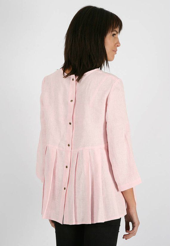 761ca706adc7 Casual pink linen shirt for women