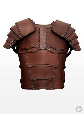 "modern Leather Armor, distantly based on the early Roman empire lorica segmentata style of iron armor.  Properly made and fitted, leather armor could be nearly as effective and lighter weight than iron or steel.  Arthur's army would have either leather or mail armor, rather than the bulky ""tin cans"" you see in the movies so often"
