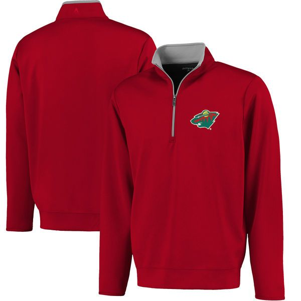 Minnesota Wild Antigua Leader 1/4 Zip Pullover - Red - $84.99