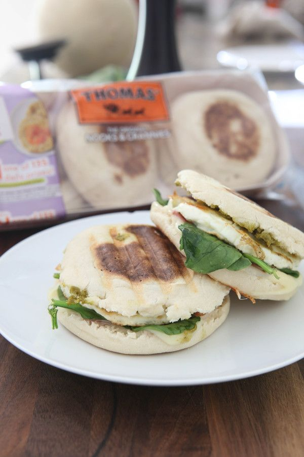 Prosciutto and Basil Pesto English Muffin Panini | @eclecticrecipes