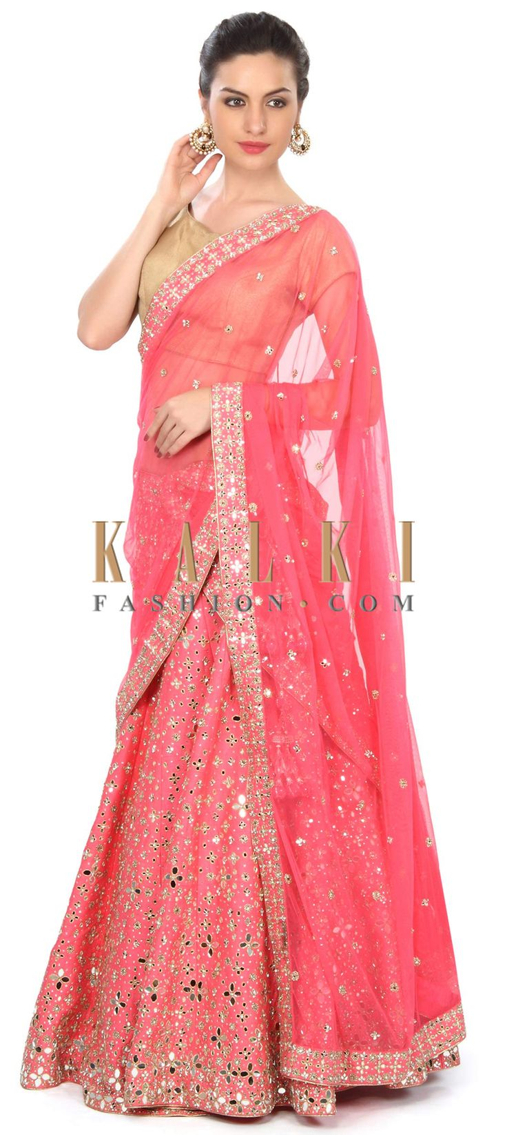 Buy this Pink lehenga adorn in mirror and thread embroidery only on Kalki