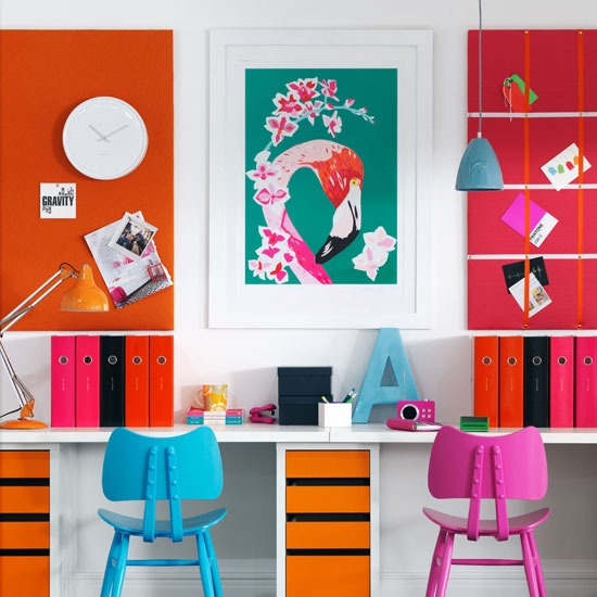 Vibrant home office    Take it to the max with a cocktail of orange, fuchsia and sky blue for a bright and motivating work space in your home office.
