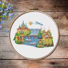 Pretty Little Prague, pretty little cities, Charles Bridge, Prague, Modern Cross stitch pattern PDF - Instant download