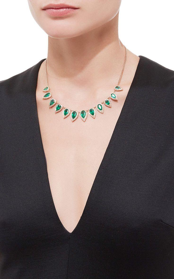 Antique Teardrop Emerald Bezel Necklace by Jacquie Aiche for Preorder on Moda Operandi: