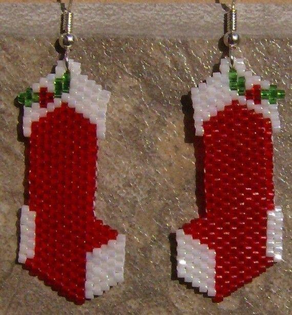 Mattone di seme in rilievo calza di Natale fatti a mano cucire orecchini