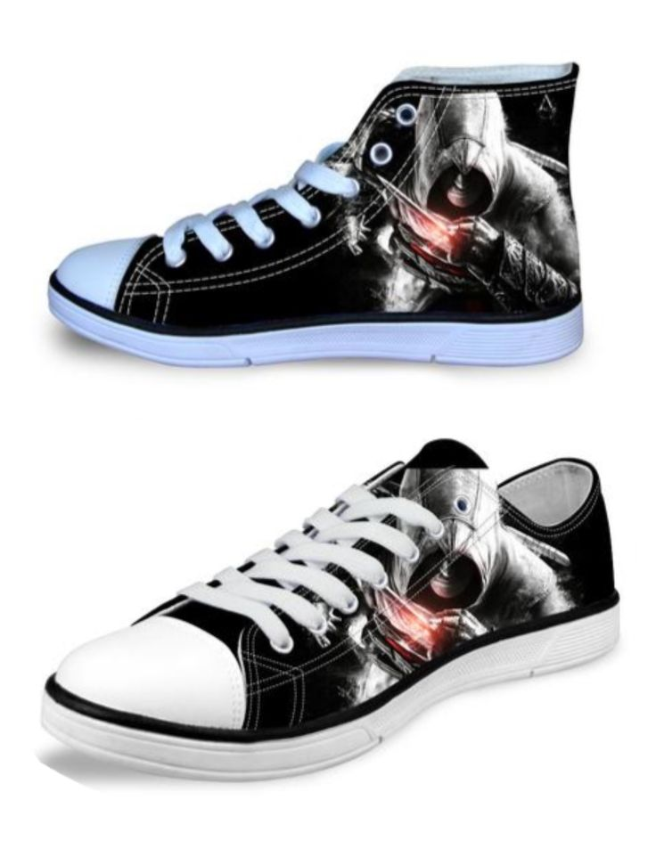 """May want to get one of kind hot Assassin's Creed Canvas High/Low Unisex Shoes into your collection can them order online. Neat idea to wear them at comic con and get your photo with Cas Anvar being as """"Master Altair"""" #FollowTheCreed"""