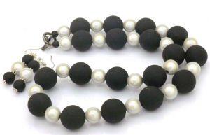 Matt Black with Shimmery Silver Beaded Necklace, 54cm - Plus Earrings  $34.95
