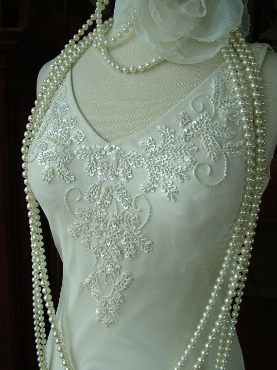1920s Flapper Wedding dress scarf bottom by RetroVintageWeddings, $435.00