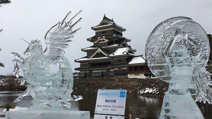 Festival de escultura de gelo no Castelo de Matsumoto