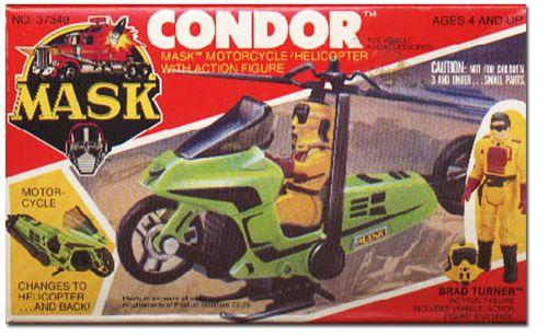Condor era un must en cualquier colección M.A.S.K. excelente calidad, las hélices nunca se rompieron y obvio el poder de ilusión de Brad Turner era de los mejores de la caricatura
