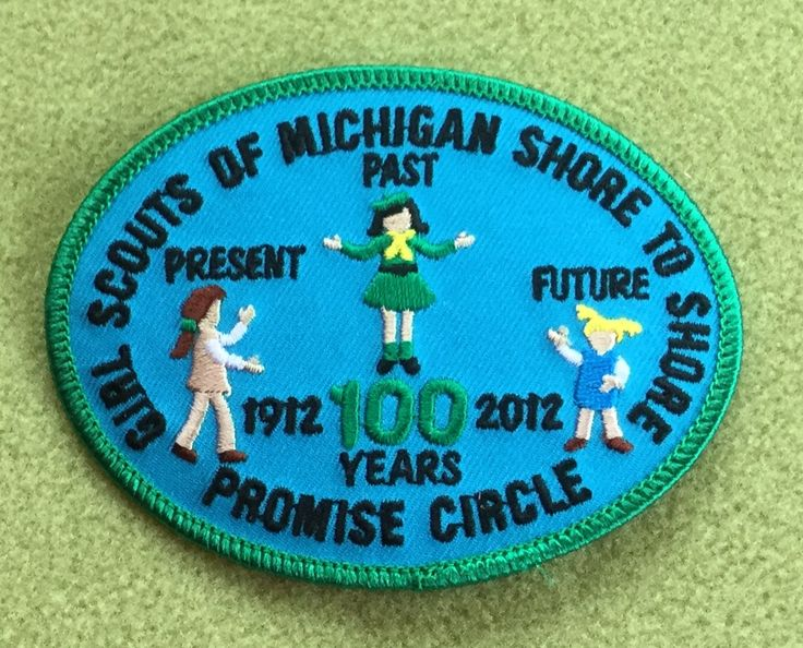Girl Scouts Michigan Shore to Shore 100th anniversary patch. Promise Circle, 100 years. Thank you, Tami.