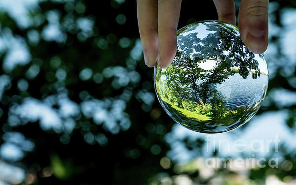 """This unique capture was created by using a 3"""" crystal clear ball. The crystal was strategically placed creating a colorful picturesque fish eye image of Fowler Lake.   The foliage accents the water inside the crystal thus creating a surreal crystalized drop. Crystal Ball Photography, Oconomowoc, WI"""