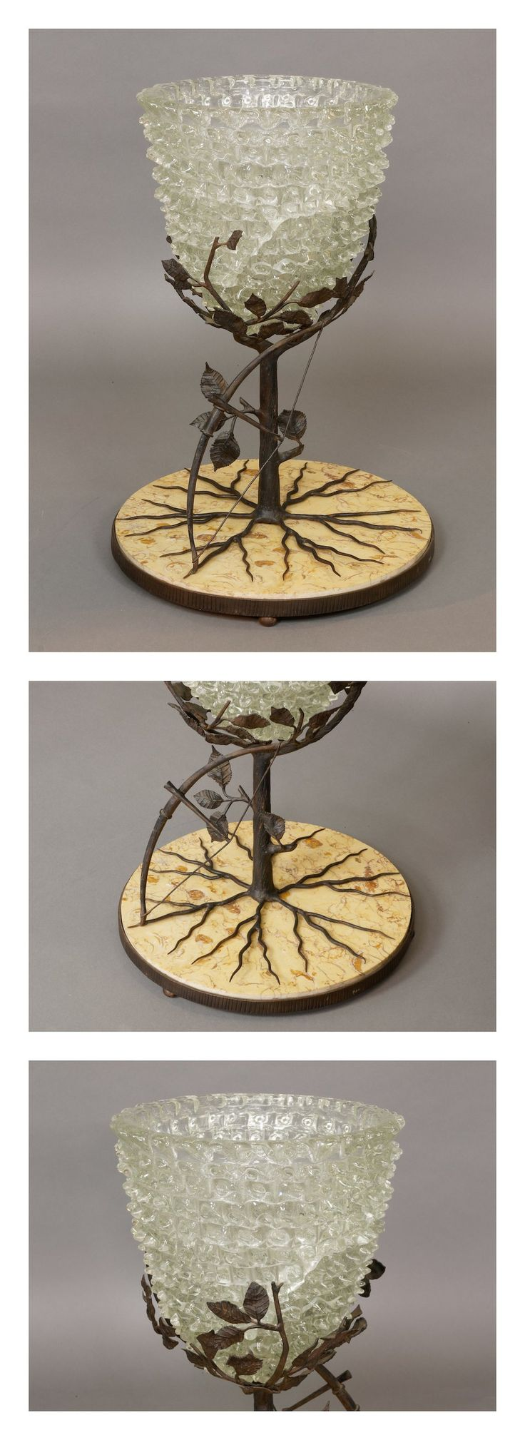 #French marble & metal centrepiece with Italian glass coup, c.1920.  #1920s #objectdart