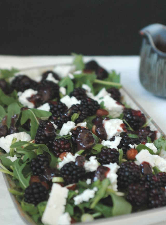 Arugula Salad with blackberries and Chèvre