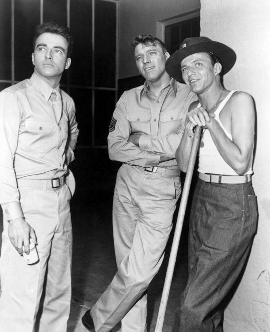 "ON THE SET of ""FROM HERE TO ETERNITY"" with Montgomery Clift, Burt Lancaster and Frank Sinatra (1953)."