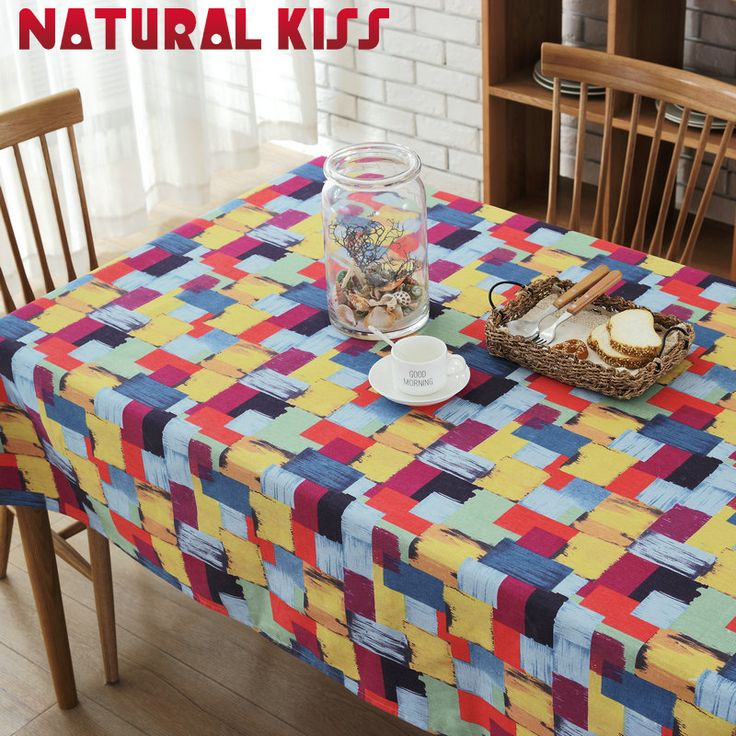 Hot Sale Colorful Cotton & Linen Table Cloth Printed Rectangular Table Cover Tablecloth for Home Festival Decorative Table Cover
