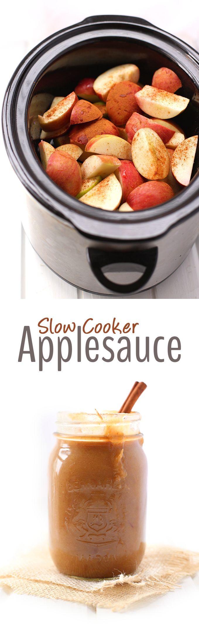 All you need are two ingredients (apples and cinnamon) and your slow cooker to make this super easy and sugar-free slow cooker applesauce recipe! Perfect for Fall snacking or to use in baked goods!