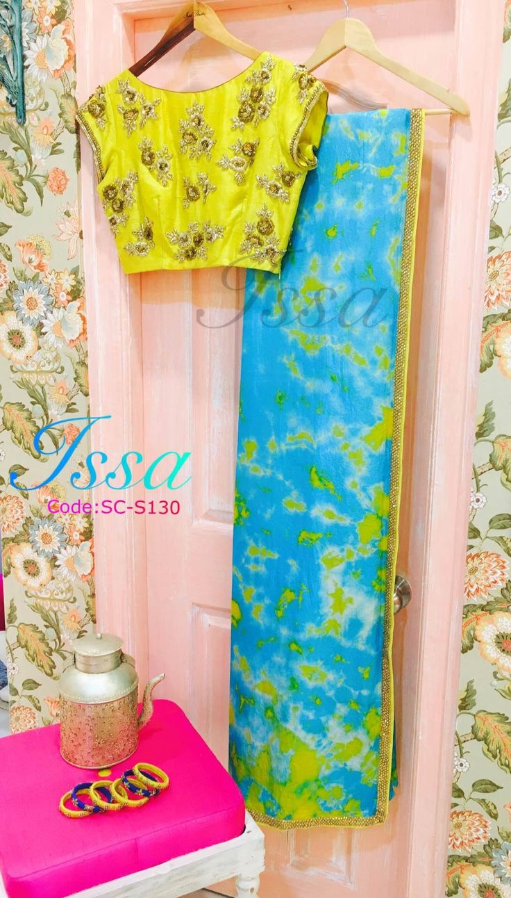 Sc130: Our fav combination yellow and turquoise blue in a saree!!!We can customize the colour size as per your requirement.To order please call/ WhatsApp on 9949944178 or mail us @issadesignerstudio@gmail.com 01 November 2016