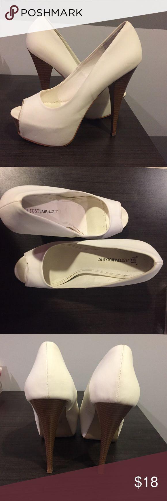 JustFab Peep toe platforms Just Fabulous 6 inch Peep toe white platforms. Worn once. No scuffs. JustFab Shoes Platforms