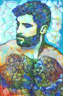Bandit by RD Riccoboni hand signed and numbered by the artist in a limited edition run of only 80 images.    Painting by one of America's favorite artists RD Riccoboni.  Flower Power by RD Riccoboni. Created in a contemporary impressionist style beefcake art of a sexy muscle bear man. This Colorful art portrait mixes divine masculine and feminine qualities from the artist's San Diego studio.  Sold on a first come first serve basis. First 10 editions at a introductory price.  Numbered…