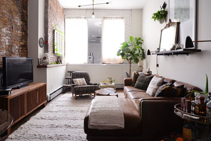 fabulous long narrow living room layout ideas | Allison & Matt's East Village Synergy | Narrow living room ...