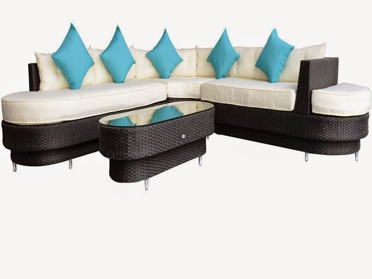 Outsunny 4 pc Deluxe Outdoor Patio PE Rattan Wicker Oval Sofa Sectional ...