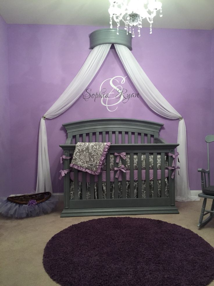 My Princess' purple and gray bedroom. Gray crib from Cullen's baby land. Purple…