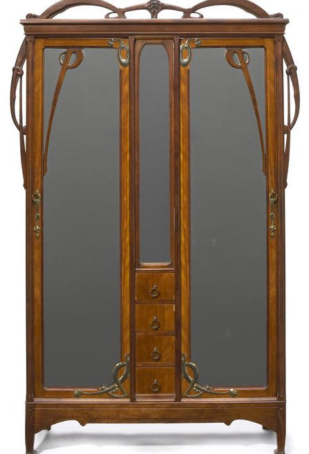 l on b nouville 1860 1903 armoire carved walnut with. Black Bedroom Furniture Sets. Home Design Ideas