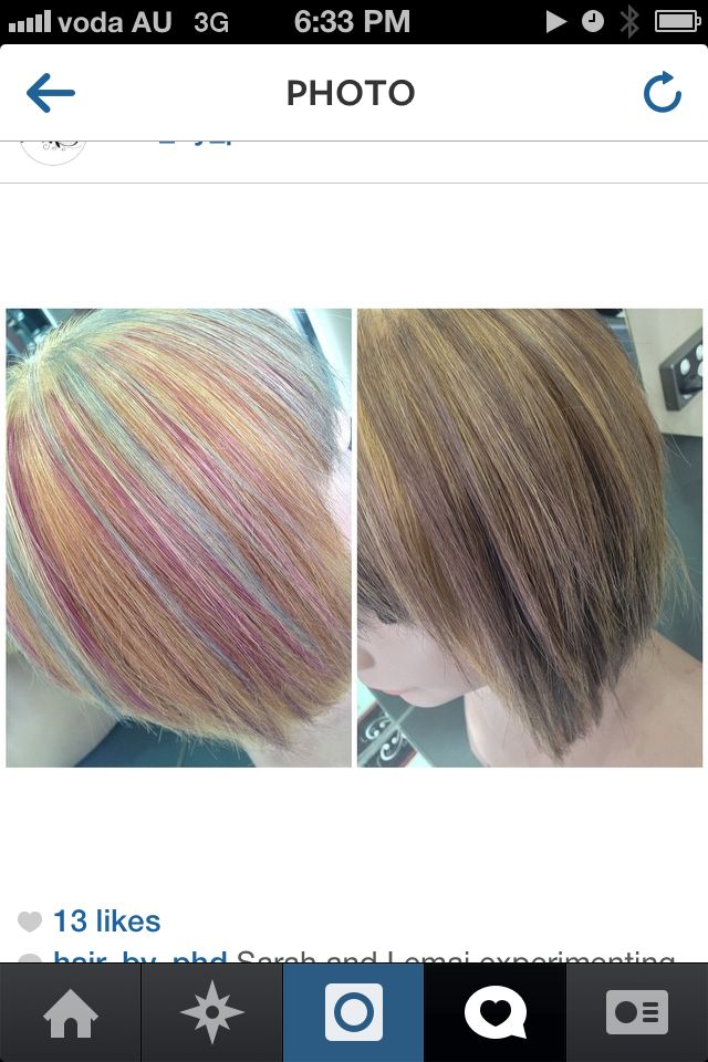Pastel Hair makeover by Hair by PHD. Gorgeous short bob with multiple coloured foils through the blonde base