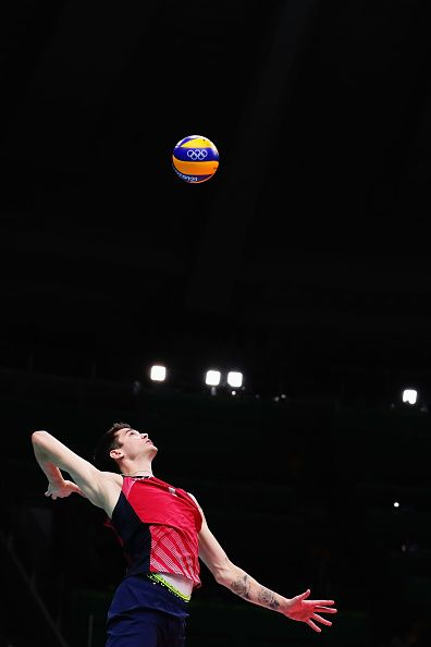 Matthew Anderson of United States serves during the Men's Bronze Medal Match…