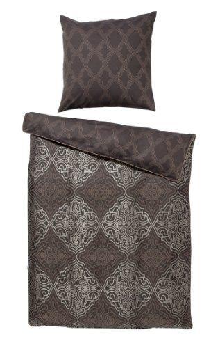 IVARY ASMARA orientalische Bettwäsche mit feinem Schimmer 100% Baumwolle 80x80 cm + 155x220 cm schwarz/gold