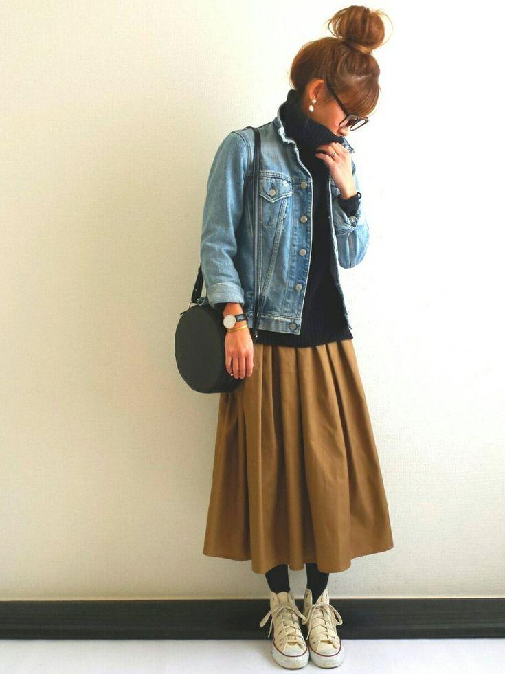 Camel Skirt, Black Top, Jean Jacket