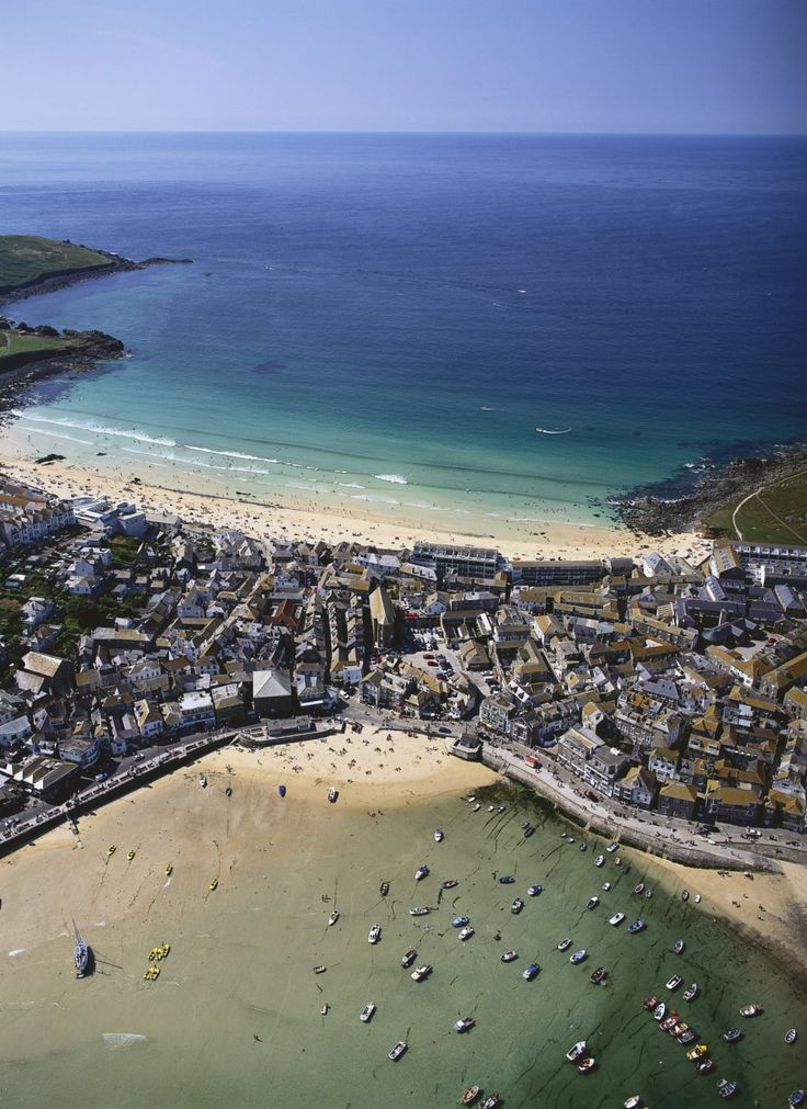 St. Ives, a popular beach town in Cornwall with emerald tides.