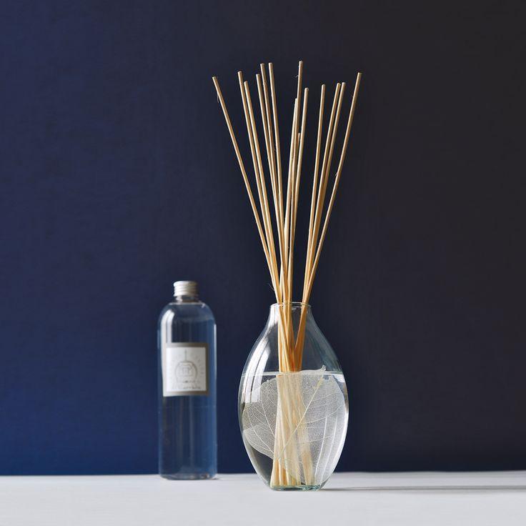 Profuma ambiente: Vasi diffusore di profumo a bastoncini. Vaso di vetro soffiato. Ricarica di profumo. Contenuto: 500 ml