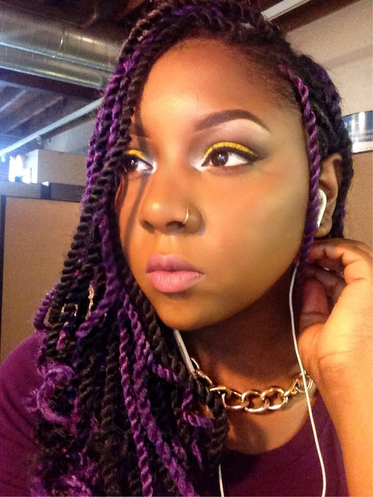 Purple senegalese twist with curled tips | My hair journey ...