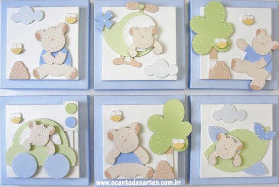 Quadros Ursos - O Canto das Artes - Decoração para Bebês