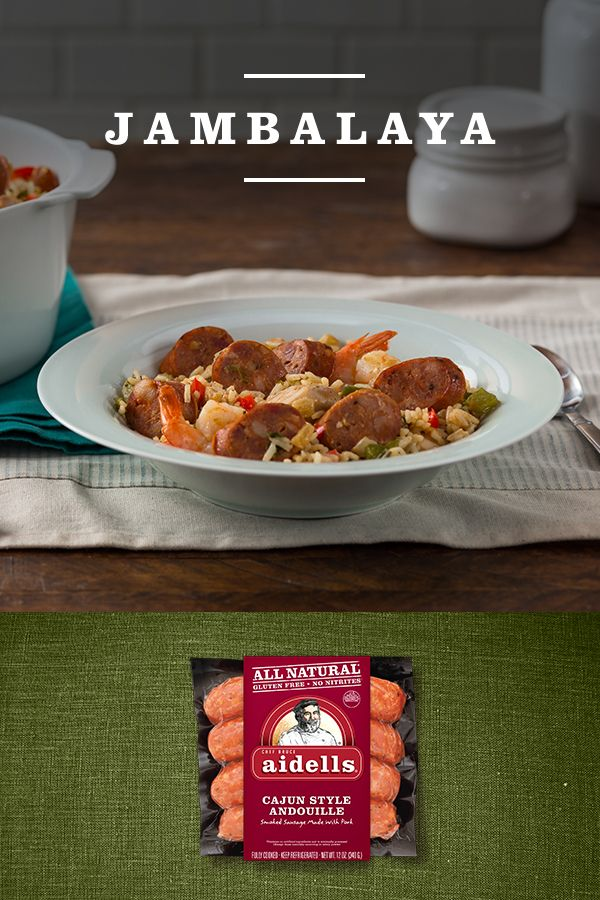 This flavorful rice dish should be in the recipe box of every #Aidellatarian. Based on Spanish paella or arroz con pollo, this recipe gets life and spice from the addition of Aidells Cajun Style Andouille.   Visit the link to see the full Jambalaya recipe, or find your #perfectfusions of flavor in a variety of Aidells meatballs and dinner sausage at Aidells.com.