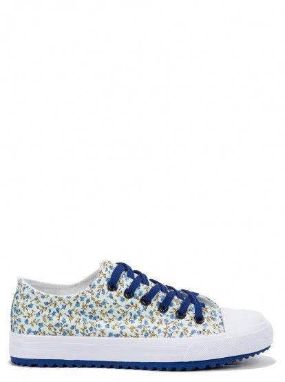 Pantofi sport cu print floral de damă BULLDOZER - albastru