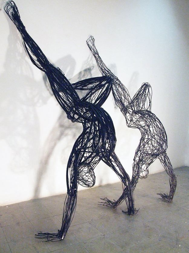 Playfully Energetic Figures Constructed With Colorful Wire