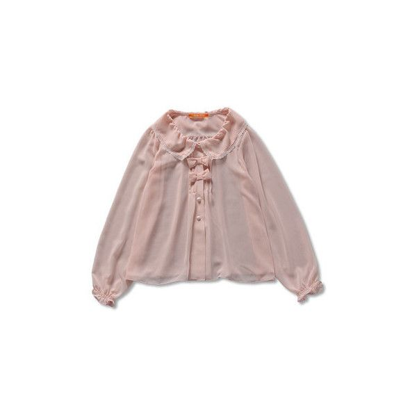 今から着れちゃう春の新作!リボン付シフォンブラウス ❤ liked on Polyvore featuring tops, shirts, sweaters, women, shirt top, brown shirts and brown tops
